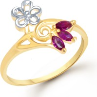 VK Jewels VK Jewels Flowral Ruby Beaded Gold And Rhodium Plated Ring Alloy Cubic Zirconia 18K Yellow Gold Ring