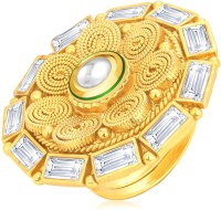 Sukkhi Marquise Jalebi Gold Plated American Diamond Alloy 18K Yellow Gold Ring