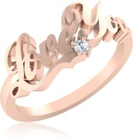 IskiUski Lovable Love U Sterling Silver Swarovski Crystal 22K Rose Gold Plated Ring