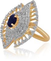 American Diamond Copper, Brass Diamond, Sapphire Rhodium, 18K Yellow Gold Plated Ring