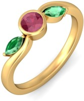 BlueStone The Flaura Trinity Gold Ruby, Emerald 18 K Ring