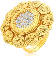 Sukkhi Charming Jalebi & Invisible Setting Gold Plated American Diamond Alloy 18K Yellow Gold Ring