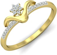 KuberBox Smiling You Gold Diamond Yellow Gold Plated 14 K Ring