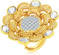 Sukkhi Alluring Designer Traditional Cocktail Gold Plated American Diamond Alloy 18K Yellow Gold Ring