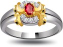 Surat Diamond Trendy Diamond & Ruby Ring SDR1014 Yellow Gold Diamond, Ruby Ring