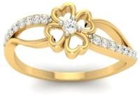 Jewels5 Rockrose Yellow Gold Diamond Rhodium Plated 18 K Ring