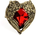 Crunchy Fashion Red Rhinestone Heart Alloy Ring