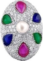 American Diamond Copper, Brass Diamond, Ruby, Emerald, Sapphire, Pearl Rhodium, 18K Yellow Gold Plated Ring