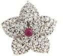 Crunchy Fashion Blossom Flower AD Stone Brass Ring