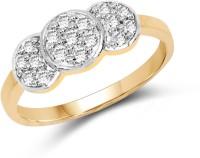 Johareez 1.59 Grams White Cubic Zirconia Gold Plated Brass Ring Brass Cubic Zirconia Yellow Gold Ring