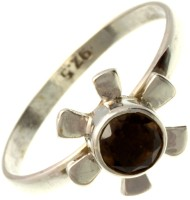 Exotic India Faceted Smoky Sterling Silver Quartz NA K Ring