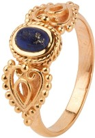Voylla Heart Style Oval Lapis Lazuli Stone Encrusted Metal Crystal Rhodium Ring