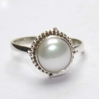 Manirathnum Pearl Gemstone Silver Ring Sterling Silver Pearl Brass Ring