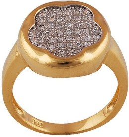 Silver Prince Designer Silver Cubic Zirconia 18K Yellow Gold Ring