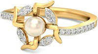 WearYourShine By PCJ The Swastika Pearl Gold Diamond 18 K Ring