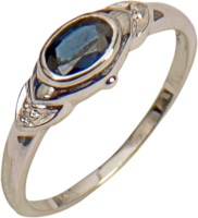 Rakam Gold Sapphire, Diamond 14K White Gold Plated 14 K Ring