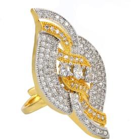 Alysa Danielle Brass, Copper, Silver Cubic Zirconia 18K Yellow Gold, Rhodium Ring
