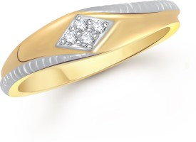 VK Jewels Love Band Alloy Cubic Zirconia Yellow Gold Ring