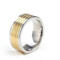 Vaishnavi Two Tone Titanium Finished Unisex Korean Made 316L Surgical Stainless Steel Ring