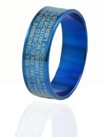 Alphaman The Universal Blue Blessing Cross Latin Inscripted Metal, Alloy Ring