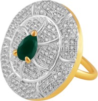 American Diamond Copper, Brass Cubic Zirconia, Emerald 18K Yellow Gold, Rhodium Plated Ring