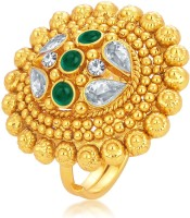 Sukkhi Fine Designer Traditional Cocktail Gold Plated American Diamond Alloy 18K Yellow Gold Ring - RNGEGPKTC9AZANZ6