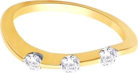 Alluring Silver Swarovski Crystal Yellow Gold Ring