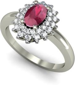 Rasav Jewels 18kt Ruby, Diamond White Gold ring