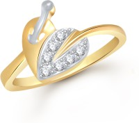 VK Jewels Heart Shaped Leaf Alloy Cubic Zirconia Yellow Gold Ring
