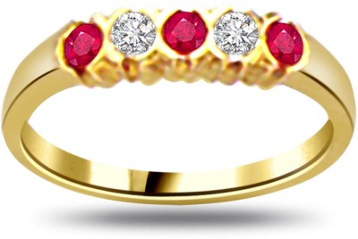 Surat Diamond 0.08ct Diamond & Ruby Ring SDR970 Yellow Gold Diamond, Ruby Ring
