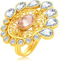 Sukkhi Splendid Designer Traditional Cocktail Gold Plated American Diamond Alloy 18K Yellow Gold Ring