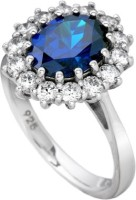 Rm Jewellers 92.5 Pure Sterling Persian Silver Cubic Zirconia, Sapphire Ring