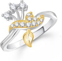 VK Jewels Leaf And Twig Design Alloy Cubic Zirconia Yellow Gold Ring