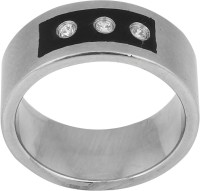 Vaishnavi Stylish Unisex Design With Beautiful Shining Three Crystal Made Of 316L Surgical Stainless Steel Ring