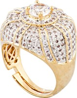 Sparkling Drop Sparkling A La Mode Finger Rollings Brass Cubic Zirconia Yellow Gold Ring
