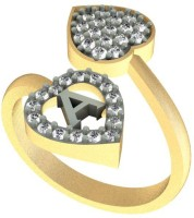 Kanak Jewels Diamond Heart Letter A Designed For Girls & Women Brass Cubic Zirconia Yellow Gold Ring