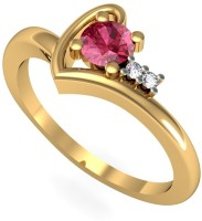 Rasav Jewels Yellow Gold Garnet, Diamond 18K Yellow Gold Plated 18 K Ring