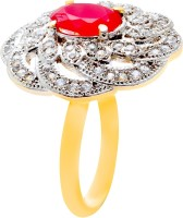 Memoir Red Ruby Color Stone Studded Brass Cubic Zirconia Yellow Gold NA K Ring