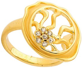 Sanaa Creations STUNNING WITH CZ GOLD PLATED RING WITH GRILL DESIGN Alloy Ring