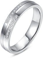 Rm Jewellers 92.5 Sterling Love Silver Cubic Zirconia Platinum Ring