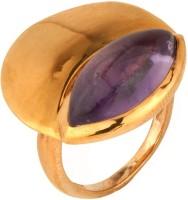 Voylla Circular Style Violet Stone Embellished Metal Crystal Rhodium Ring