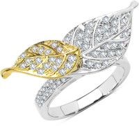 Johareez VALLIANT JEWELS White Cubic Zirconia Two Tone Plated Brass Leaves Shape Rotating Ring Brass Cubic Zirconia Yellow Gold Ring
