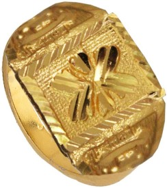 Rich & Famous Gold finish Flower design Fashion Alloy Yellow Gold Ring