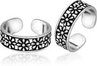 Peora Oxidised Blooming Sterling Silver Toe Ring