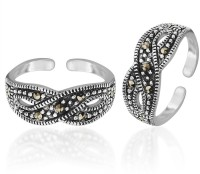 Peora Oxidised Floral Statement Sterling Silver Toe Ring Set