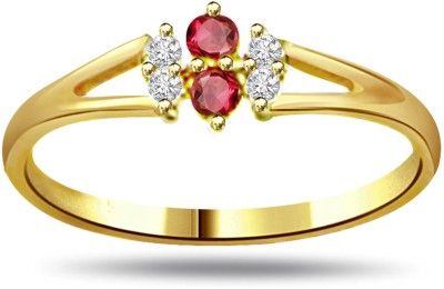 Surat Diamond 0.12ct Diamond & Ruby Ring SDR995 Yellow Gold Diamond, Ruby Ring