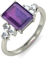 BlueStone The Amadeus Cocktail White Gold Diamond, Amethyst 18K White Gold Plated 18 K Ring
