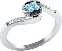 Demira Jewels Stunning Swirl Gold Diamond, Aquamarine 14K White Gold Plated 14 K Ring