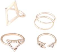 Young & Forever Geometric Glee & Arrow Rhinestone Embellished Golden Midi Set (Set Of 4) Alloy Crystal, Cubic Zirconia, Zircon Ring Set