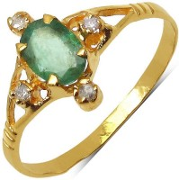 Johareez Yellow Gold Emerald Yellow Gold Plated  K Ring
